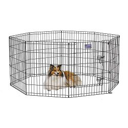 MidWest Foldable Metal Exercise Pen/Pet Playpen. Black w/door, 24″W x 30″H