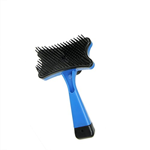 Speedy Pet 5″ Mini Blue and Black Self Cleaning De-Shedding Cat or Dog Pet Grooming Brush