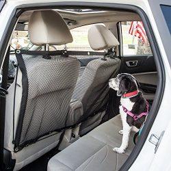 Pet Life Squared 'Easy-Hook' Backseat Meash Folding Dog Cat Child Car Seat Carseat Safety Barrier, One Size, Black