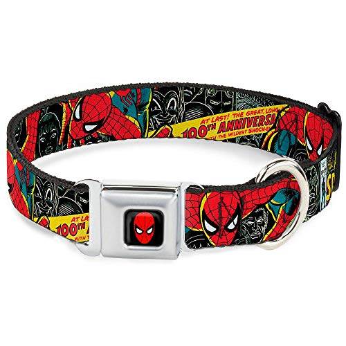 Buckle Down Seatbelt Buckle Dog Collar – THE AMAZING SPIDER-MAN 100th ANNIVERSARY Cover – 1″ Wide – Fits 15-26″ Neck – Large