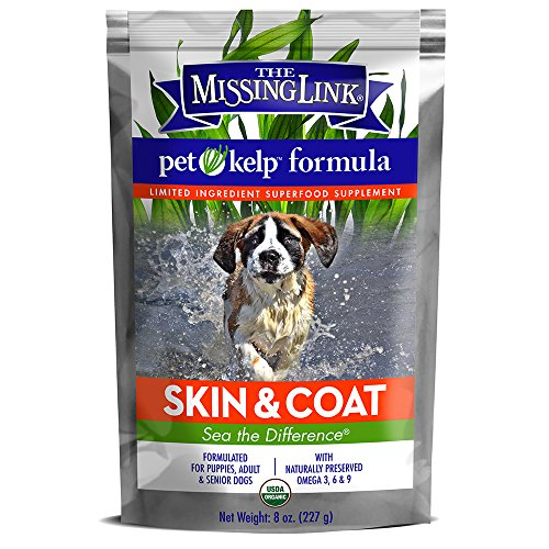 The Missing Link – Organic Pet Kelp, Skin & Coat Formula — Limited ingredient Superfood Supplement for Dogs rich in balanced Omegas 3, 6, and 9 to support healthy nutrition and skin & coat health —  8 oz.