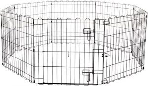 AmazonBasics Foldable Metal Pet Exercise and Playpen with Door, 24″