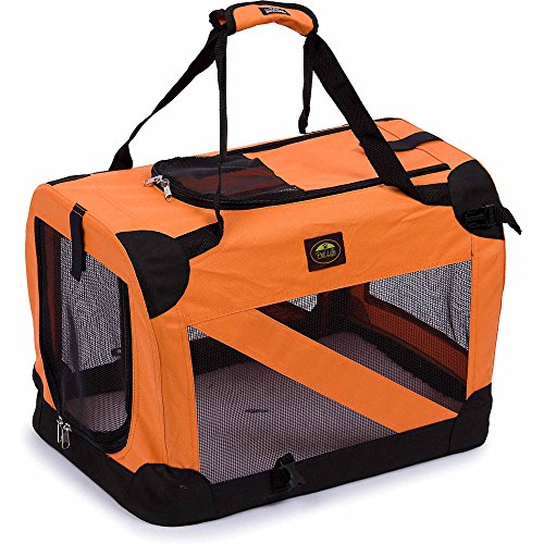 Pet Life 360° Vista View' Zippered Soft Folding Collapsible Durable Metal Framed Pet Dog Crate House Carrier, Small, Orange