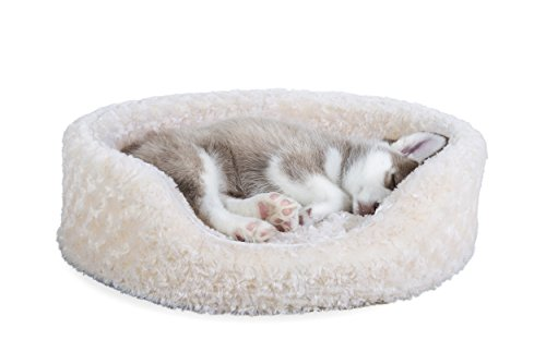 Furhaven Pet NAP Oval Ultra Plush Bed for Dog or Cat, Medium, Cream