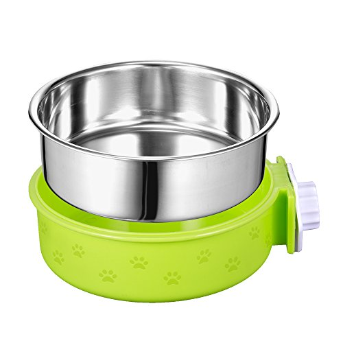 Amazon 5 stars Crate Dog Bowl, Removable Stainless Steel Pet Bowl Hanging Cage Coop Cup Large Water Food Feeder Dogs Cats Rabbits,Birds-Green