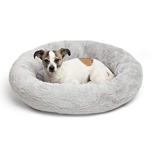 Best Friends by Sheri Luxury Faux Fur Donut Cuddler (23×23), Gray – Small Round Donut Cat and Dog Cushion Bed, Orthopedic Relief