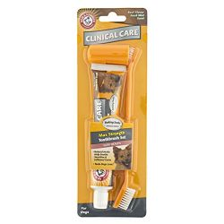 Arm & Hammer Clinical Pet Care Dental Gum Health Kit for Dogs | Contains Toothpaste, Toothbrush & Fingerbrush | Soothes Inflamed Gums, 3-Piece Kit, Beef Flavor