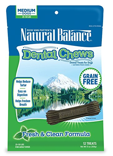 Natural Balance Dental Chews Dog Treats, Fresh & Clean Formula, Grain Free, For Medium Dogs, 13-Ounce