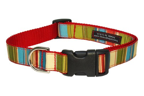 Sassy Dog Wear 10-14-Inch Red/Multi Stripe Dog Collar, Small