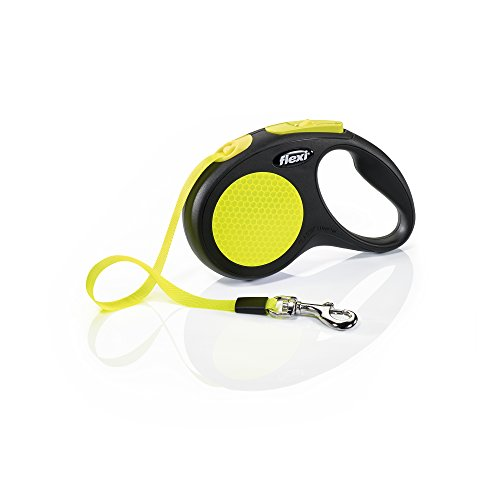 Flexi New Neon Retractable 16′ Dog Leash Tape, Small, Black/Neon