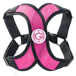 Gooby 04111-FPNK-M Choke Free X-Harness for Small Dogs, Flamingo Pink, Medium