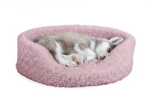 FurHaven NAP Ultra Plush Oval Lounger Pet Bed for Dogs and Cats, Pink, Medium