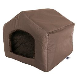 PETMAKER Cozy Cottage House Shaped Pet Bed, Brown, 19″ x 18. 5″ x 17″