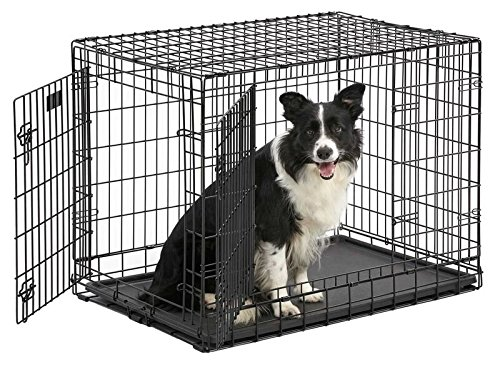 "Ulitma Pro (Professional Series & Most Durable MidWest Dog Crate) Extra-Strong Double Door Folding Metal Dog Crate w/Divider Panel, Floor Protecting""Roller Feet"" & Leak-Proof Plastic Pan"
