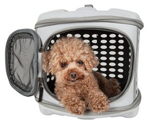 Pet Life Circular Shelled' Perforated Lightweight Collapsible Military Grade Travel Pet Dog Carrier, One Size, Light Grey