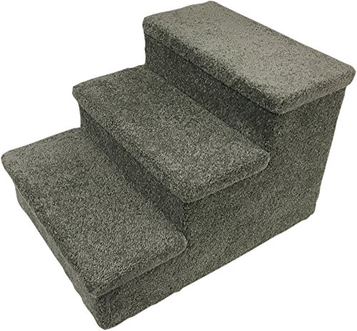 Penn-Plax 3 Step Carpeted Pet Stairs for Both Cats and Dogs, 150 lb 12.75″, Gray