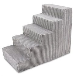 Best Pet Supplies – Grey Corduroy Foam Pet Stairs 5-Step, Wide (16 x 22.5 x 30 inches)