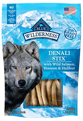 BLUE Wilderness Grain Free Denali Stix with Wild Salmon, Venison, Halibut Dog Treats 6-oz