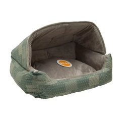 K&H Pet Products Hooded Lounge Sleeper Pet Bed Teal Patchwork Print 20″ x 25″