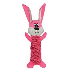 Smart Pet Love – Tender Tuffs – Shaggy Pink Rabbit – Tough Dog Toy – Play Fetch or Tug-of-war – Proprietary TearBlok Technology – Puncture Proof Squeaker