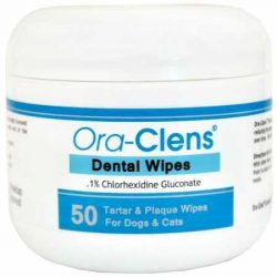 Ora-Clens Dental Wipes Dogs Cats – Reduce Plaque, Tartar Bacteria – Optimize Oral Health – Freshen Breath – 50 Count