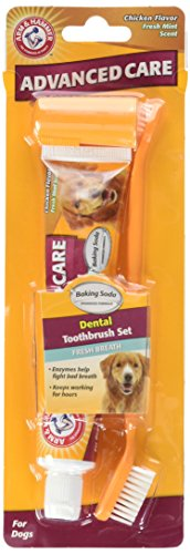 Arm & Hammer Dog Dental Care Fresh Breath Kit for Dogs | Contains Toothpaste, Toothbrush & Fingerbrush | Reduces Plaque & Tartar Buildup | Safe for Puppies, 3-Piece Kit, Chicken Flavor