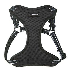 Best Pet Supplies Voyager – Fully Adjustable Step-In Mesh Harness with Reflective 3M Piping (Black, X-Small)