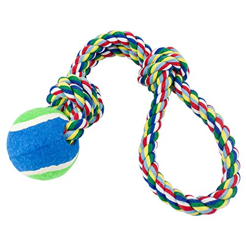 Weebo Pets Toss'n'Floss Fling Rope With Tennis Ball