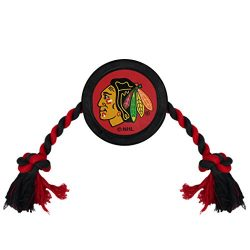 NHL CHICAGO BLACKHAWKS PUCK TOY for DOGS & CATS. Play Hockey with your Pet with this Licensed Dog Tough Toy Reward!