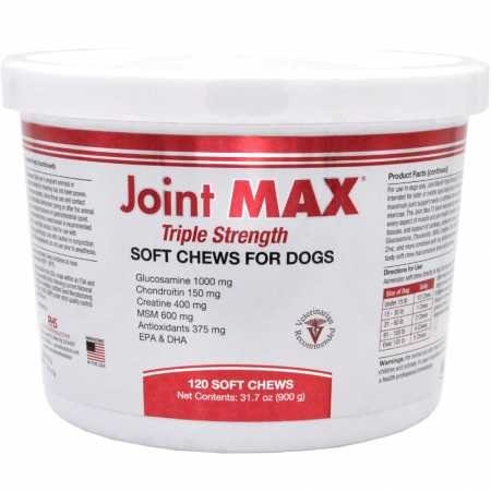 Joint MAX Triple Strength – Vitamins, Minerals, Antioxidants – Maximum Joint Health Supplement for Dogs – 120 Soft Chews