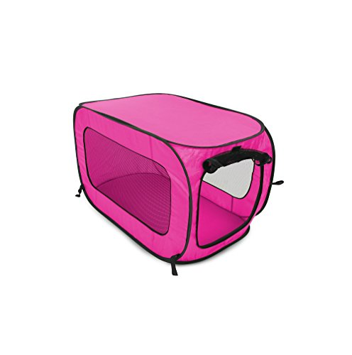 Beatrice Home Fashions SOLPPK00FUC Pop Up Portable Pet Kennel Cage, Fushia