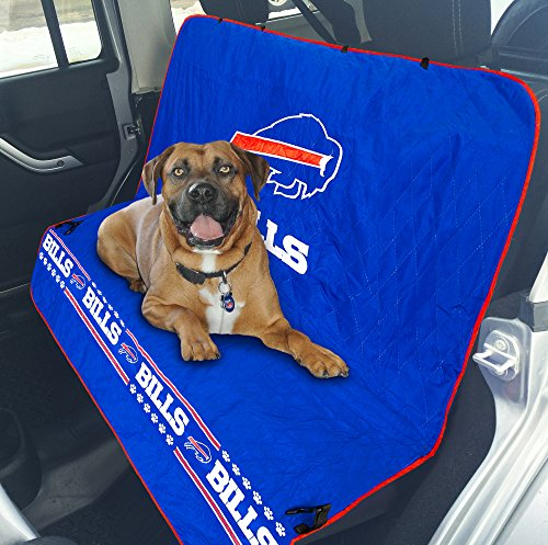 Pets First NFL CAR SEAT COVER – BUFFALO BILLS Waterproof, Non-slip BEST Football LICENSED PET SEAT cover for DOGS & CATS.