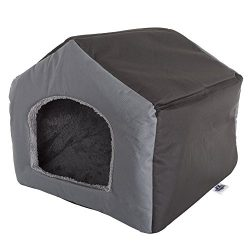 PETMAKER Cozy Cottage House Shaped Pet Bed, Gray, 19″ x 18.5″ x 17″