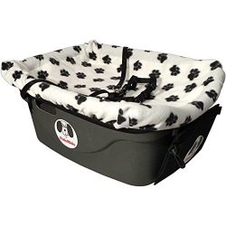 FidoRido Pet Car Seat Including White with Black Paw Prints Fleece Cover