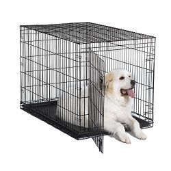 New World 48″ Folding Metal Dog Crate, Includes Leak-Proof Plastic Tray; Dog Crate Measures 48L x 30W x 33H Inches, Fits XL Dog Breeds