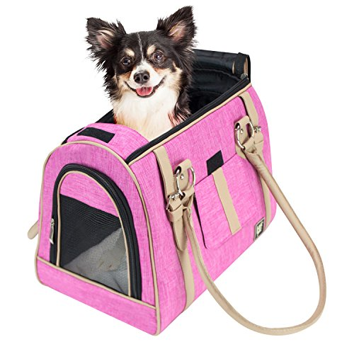 FrontPet Luxury Handbag Dog Purse, Stylish Soft Sided Pet Carrier For Small Dogs And Cats, Pink