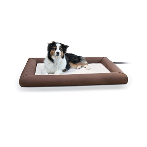 K&H Pet Products Deluxe Lectro-Soft Outdoor Heated Bed Large Chocolate/Tan 34.5″ x 44.5″ 60W