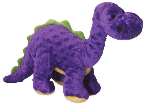 goDog Dinos Bruto with Chew Guard Tough Plush Dog Toy, Purple, Large