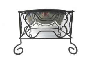 YML 7-Inch Wrought Iron Stand with Single Stainless Steel Bowl – Size: Medium (6.75″ H x 8.25″ W x 8.25″ D)