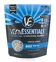 Vital Essentials Freeze-Dried Beef Mini Nibs Grain Free Limited Ingredient Dog Entrée, 1 Pound Bag