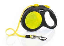 Flexi New Neon Retractable 16′ Dog Leash Tape, Large, Black/Neon