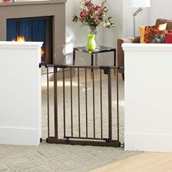 """""""Easy-Close Gate"""" by North States: The multi-directional swing gate with triple locking system – Ideal for doorways or between rooms. Pressure mount, fits openings 28″ to 38.5″ wide (29″ tall, Bronze)"""