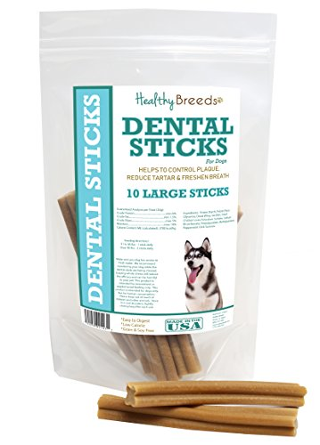 Healthy Breeds Dog Teeth Cleaning Stick Treats for Siberian Husky – OVER 200 BREEDS – Veterinarian Recommended – Grain Free – Made In USA – 10 Large Sticks