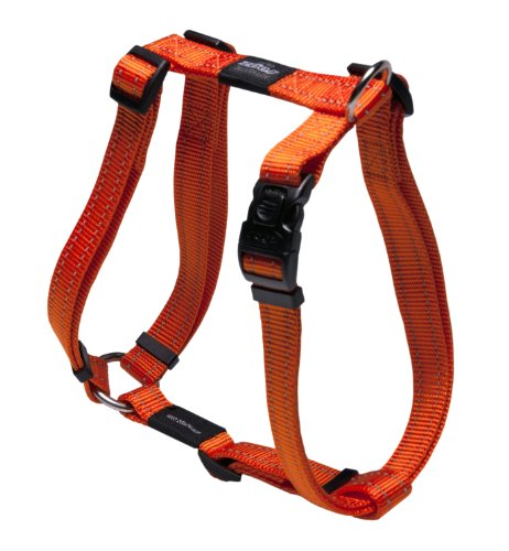 Reflective Adjustable Dog H Harness for Large Dogs; matching collar and leash available, Orange