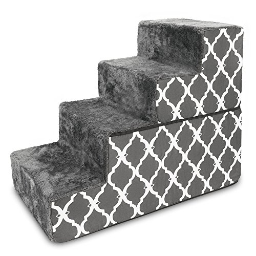 Best Pet Supplies 4-Step Foldable CertiPUR-US Certified Foam Pet Stairs/Steps, 28 x 16 x 22-Inch, Dark Gray with Lattice Print