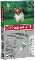 Bayer Animal Health K9 Advantix II for Dogs 6 Month Supply 1-10lb
