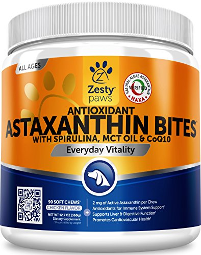 Zesty Paws Antioxidant Astaxanthin for Dogs – Immune, Hip & Joint, Cardiovascular & Digestive Support Supplement – with CoQ10 & Organic Spirulina + Coconut MCT Oil & Vitamins E and B12-90 Chew Treats