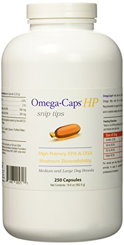 Omega-Caps HP snip tips for Medium & Large Dogs – Omega 3, EPA, DHA, Vitamins, Minerals, Antioxidants – Support Immune System, Joints, Heart, and Brain – 250 Capsules