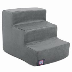 3 Step Gray Velvet Suede Pet Stairs By Majestic Pet Products