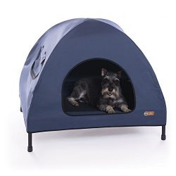 K&H Pet Products Original Pet Cot House Medium Navy Blue – Indoor & Outdoor Elevated Pet Bed & Shelter (25″ x 32″ x 28″)
